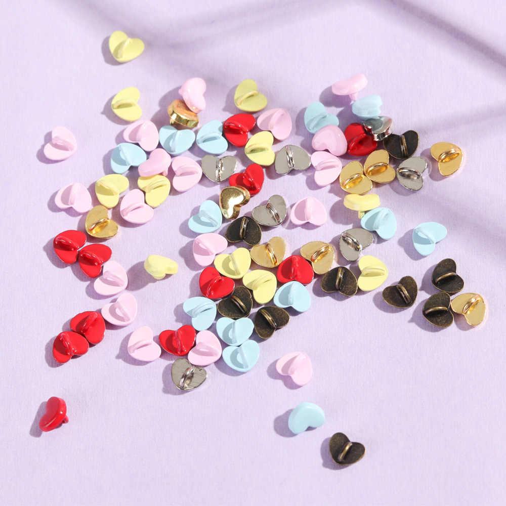 20/40 Pcs Mini Knop Diy Poppenkleertjes 5 Mm Metalen Gedrukt Gesp Hart Patroon Decor Gespen Voor 1/6 pop Kleding Naaibenodigdheden