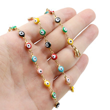 Stainless Steel Mixed Color Enamel Evil Eye Beads Diy Link Chains for Lucky Women Girls Fashion Turkish Jewelry Choker Collare