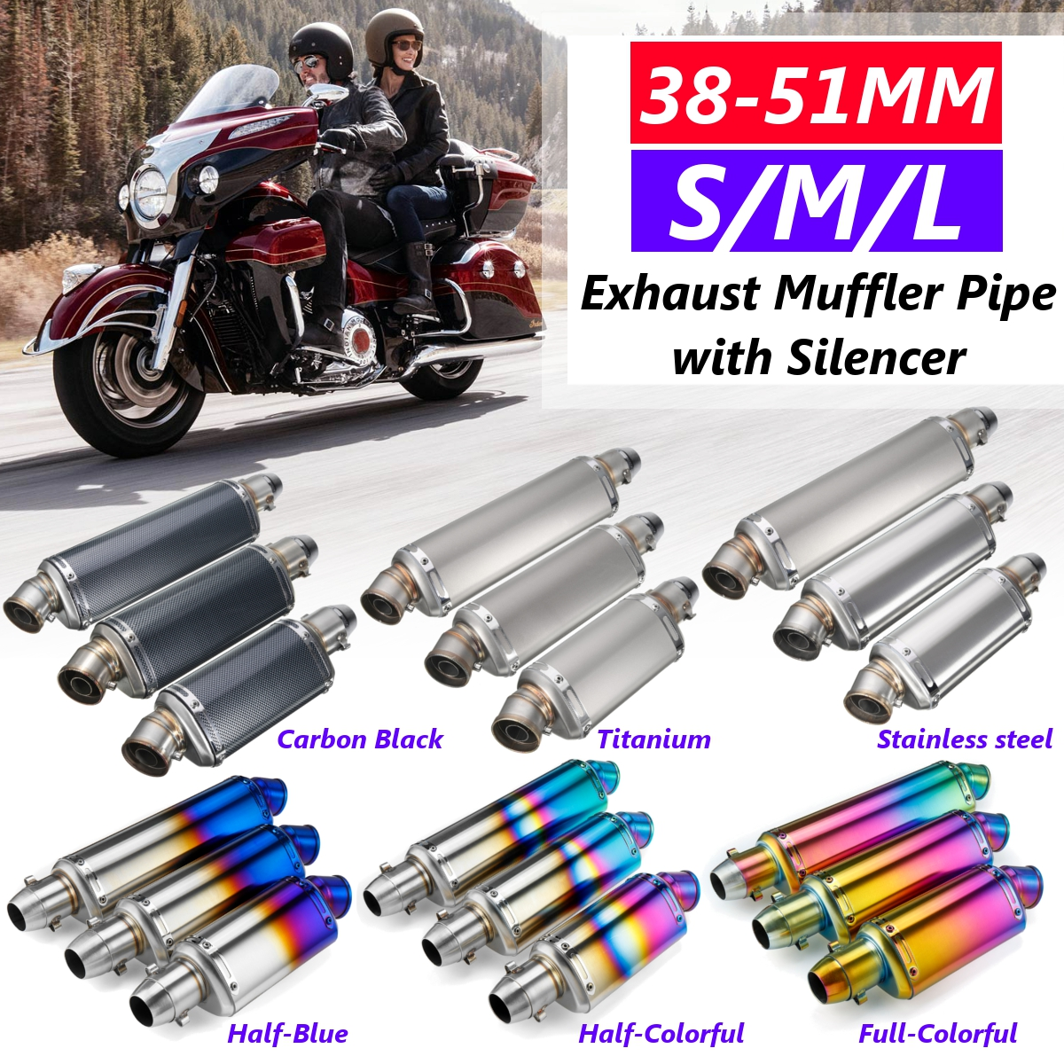 For Honda For Kawasaki 38-51mm Stainless Steel Motorcycle Exhaust Muffler Pipe With Silencer Universal  Exhaust Systems S/M/L