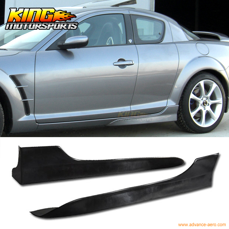 Fit For 2004-2010 Mazda RX8 4DR PU Side Skirts OE Style