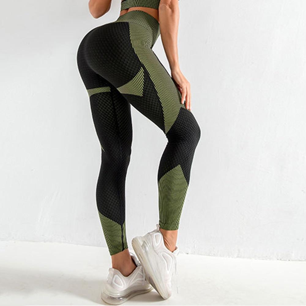 Бесшовные леггинсы женские штаны для йоги Леггинсы пуш ап спортивные