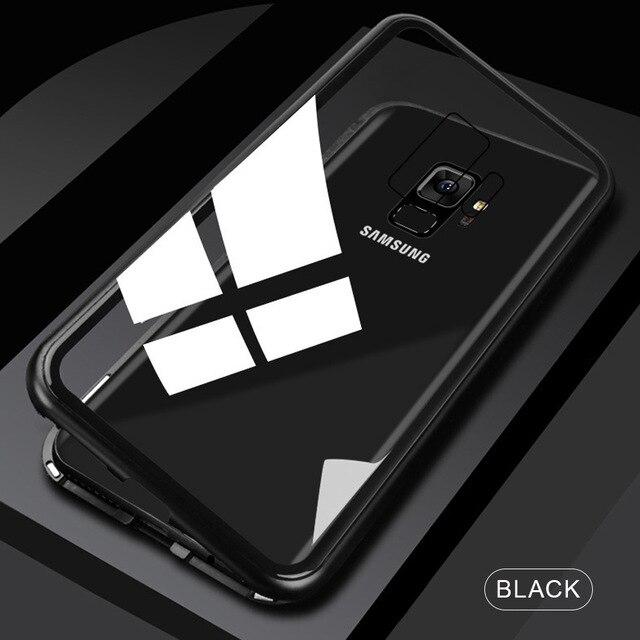 Металлический магнитный адсорбционный чехол для samsung Galaxy Note 10, S8, S9, S10 Plus, S10e, S7 Edge, Note 8, 9, 10+ закаленное стекло, Магнитная крышка - Цвет: Transparent Black