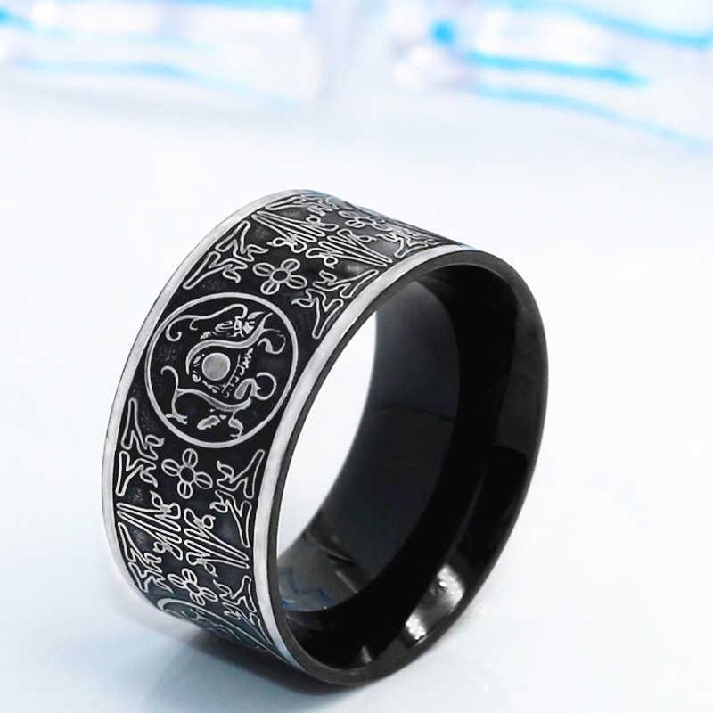 バイキングステンレス鋼ドラゴン男性のリングゴシック黒リング北欧トール中国スタイルの魅力のジュエリーユニークなバゲオム