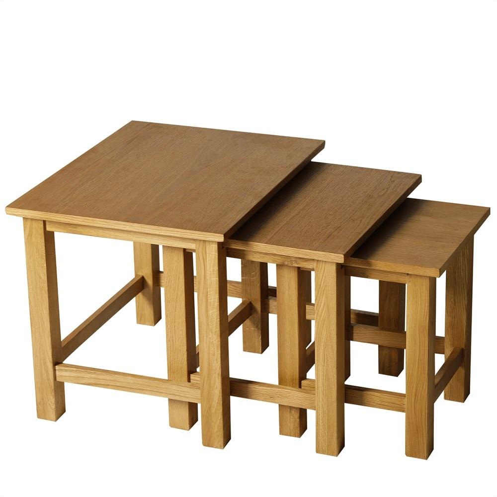 HOMCOM Set 3 Interlocking Stacking Tables Coffee Lounge Living Room Wood