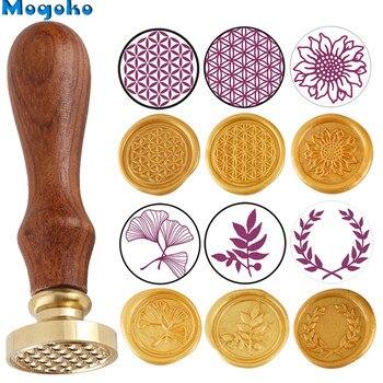 Mogoko botánico sello de cera Retro clásico cera de sellado sellos tarjetas de sobres decoración de la flor de la vida de oliva corona hoja