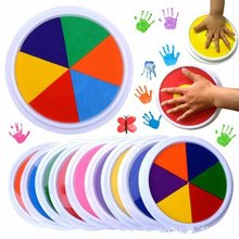 Funny 6 Colors Ink Pad Stamp DIY Finger Painting Craft Cardmaking Large Round for Kids Learning Education Drawing Toys(China)