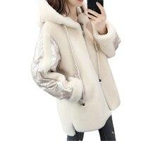 Winter sheep shearing jacket Women long woolen coat lambskin fur on coats Womens autumn winter hooded Thick Warm Overcoats F1217