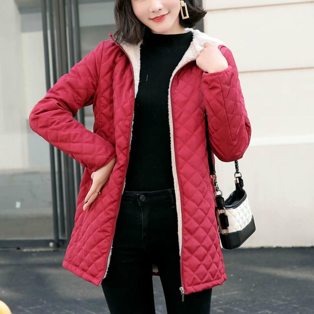 2019 Women Winter Hooded Quilted Jacket Slim Candy Color Warm Cotton Padded Basic Coat Plus Size 3XL Mid-Long Parkas