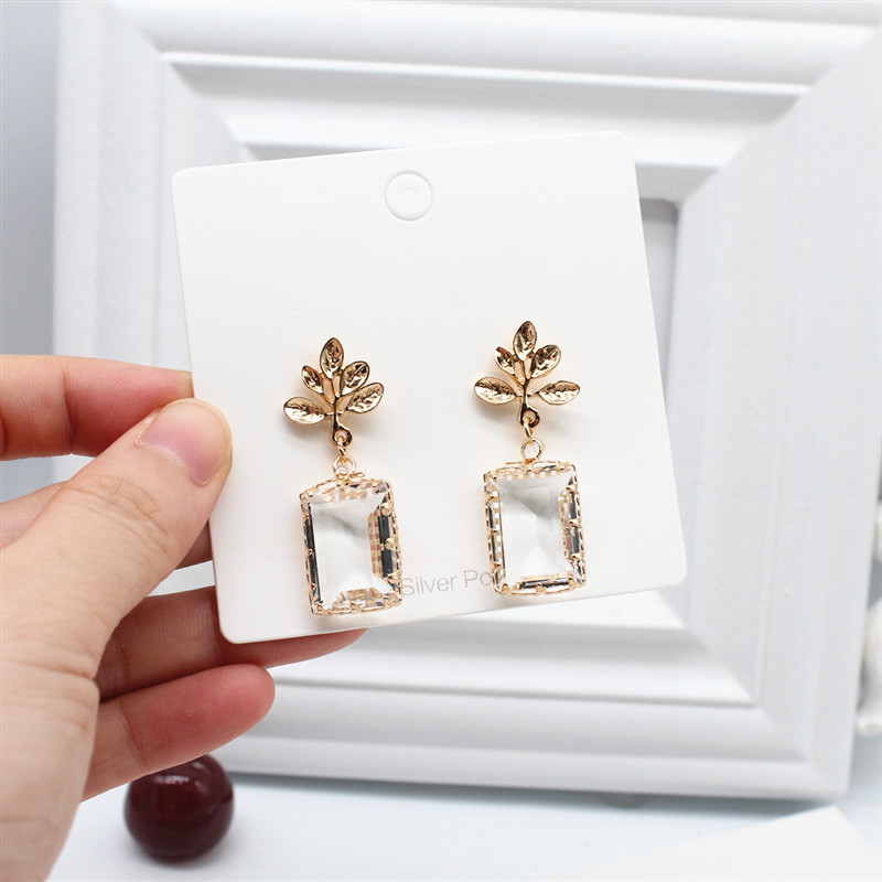 H15bcc48275e04397bf33efbbf6724af64 - Korean New Design Fashion Jewelry Double Square Earrings Luxury Transparent Glass Crystal Party Earrings for women gift