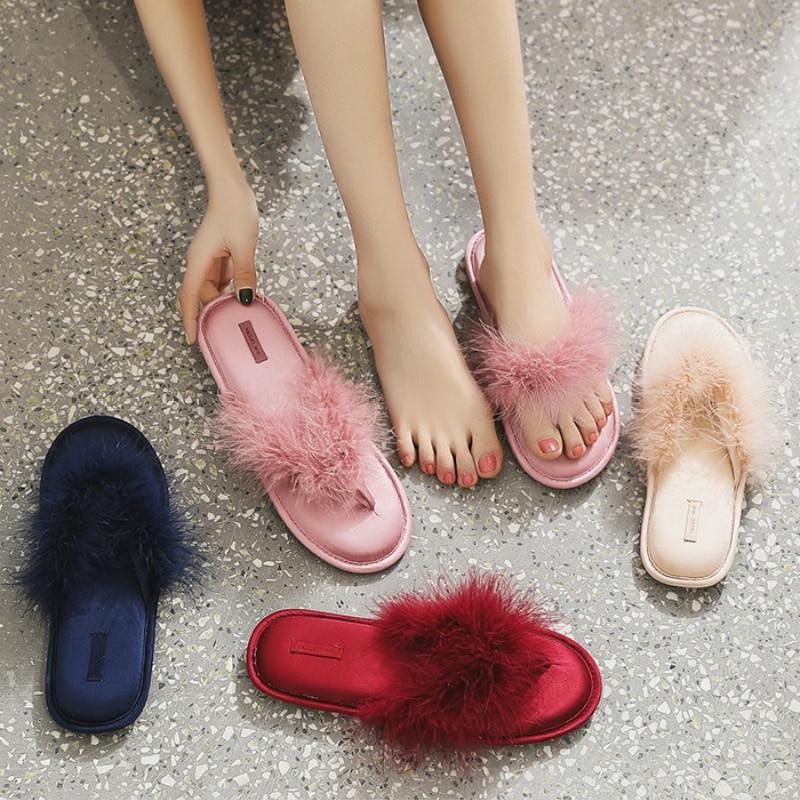 Créateur marque fourrure maison pantoufles rouge moelleux diapositives femmes mariage tongs été chambre antidérapant dames intérieur Houese chaussures