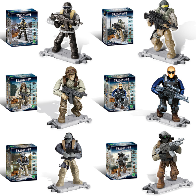 6Pcs/set City Police Building Blocks 5.5CM ABS speical troops Action Figures Soldiers Model Set DIY Toys for Children Boys Gifts