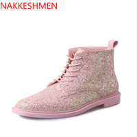 Autumn, Winter Female Fashion Wild Non Slip Sequins Shoes 2017 Autumn And Winter Boots European And American the British Fashion