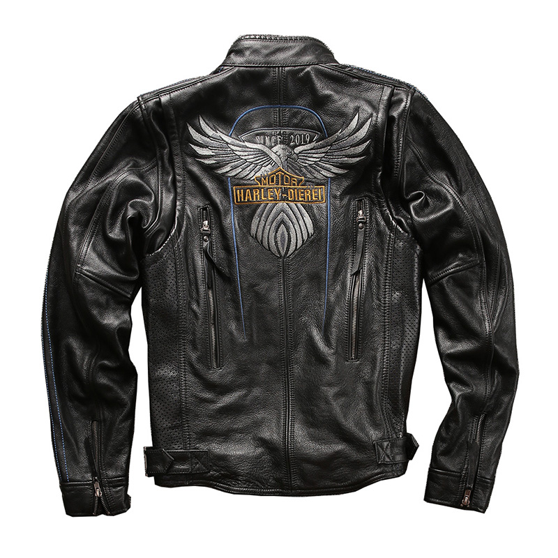 HA115 Read Description ! BIG Size Super Quality Men's Genuine Cow Leather Coat Cowhide Leather Rider Jacket