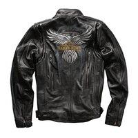 HA115 Read Description ! BIG size super quality men's genuine cow leather coat cowhide leather rider jacket