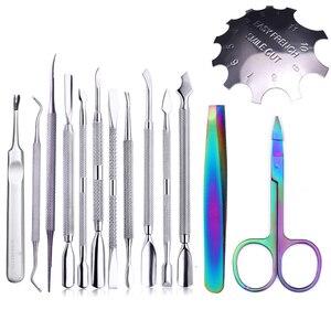 Image 1 - 1pcs Chameleon Rainbow Nail Cuticle Pusher Clipper Scissor Nipper Tweezer Picker Steel  Nail Art Tools
