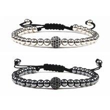 Новые Регулируемые мужские браслеты 5 мм медные бусины 4 цвета модные CZ диско шар ручной работы браслет для женщин ювелирные изделия подарки
