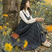 2020 outono inverno nova chegada retro gola flor bordado xadrez manga longa mulher vestido de algodão longo