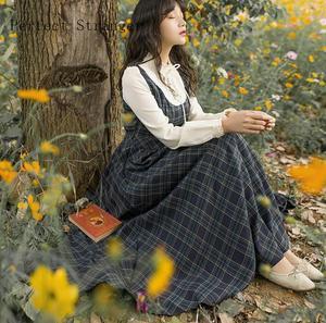 Женское длинное Хлопковое платье, клетчатое платье в стиле ретро с воротником-стойкой, цветочной вышивкой и длинным рукавом, Осень-зима 2020