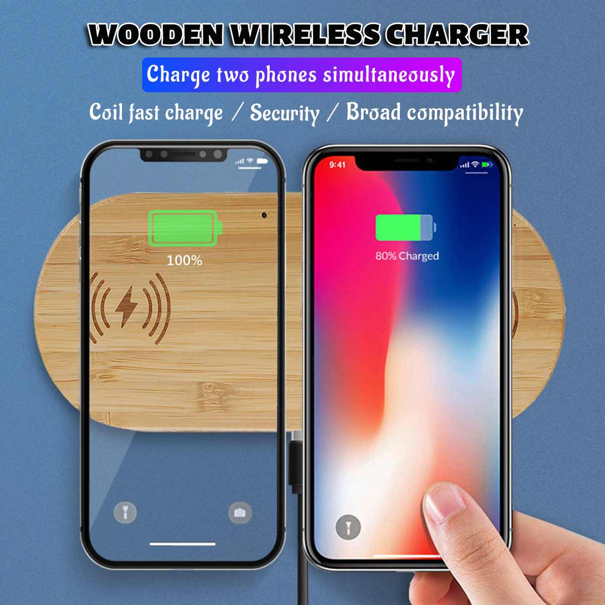 10W Qi Wireless Charger Dual Charging Charger Wooden Pad for iPhone X for Samsung for Airpod Fast Charger Charging