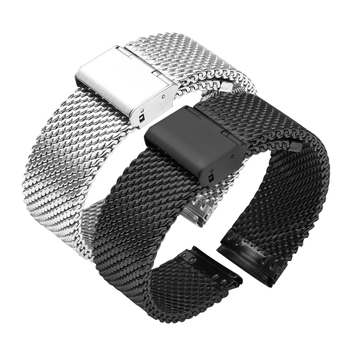 цена на 16mm 18mm 20mm 22mm 24mm 26mm Stainless Steel Milan Mesh Watch Strap Bracelets Watch Band Black Silver Gold Rose Gold
