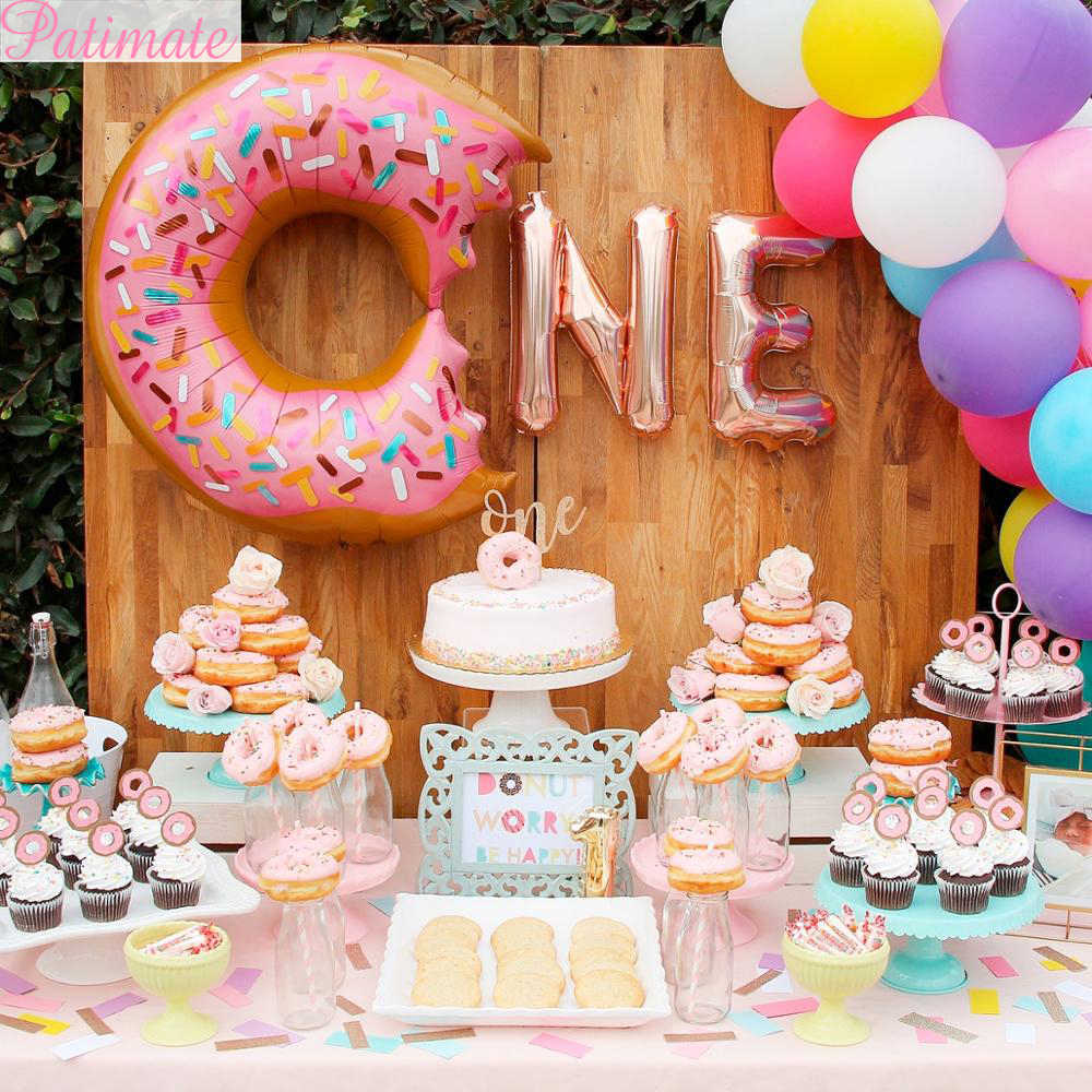 Donut Party Birthday Theme Celebration Pack Service For 16 Includes Balloons!