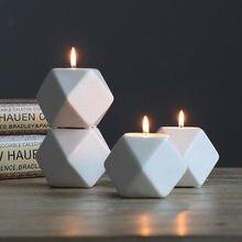 Nordic cerâmica castiçais moderno pequeno criativo retro geométrico castiçal casamento centros de mesa decoração para casa be50cd