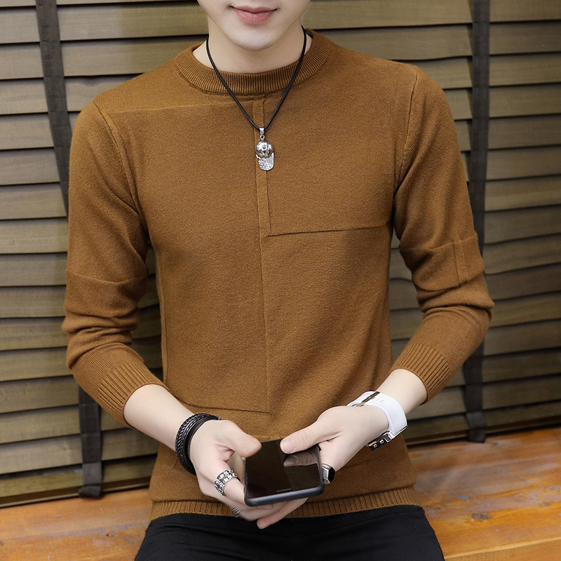 Autumn Men Sweater O-Neck Pullover Sweater Male Coat Solid Color Man Sweaters Elastic Clothes Long Sleeve Homme New Brand C242