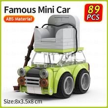 Mr. Bean's Green Mini Car Roof with Sofa Classic Speed Chumps Beans Movie DIY Vehicle Building Blocks Model Ideas Toys Xmas Gift