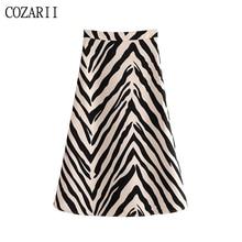 Vintage Stylish Zebra Print Midi Skirt Women 2019 Fashion A Line Side Zipper Animal Pattern Ladies Skirts Chic Faldas Mujer stylish print knot skirt for women