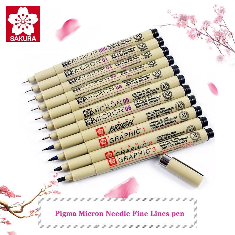 SAKURA Pigma Micron Needle Waterproof Fine Lines Black Sketch Marker Pen For Design Manga Brush Draw