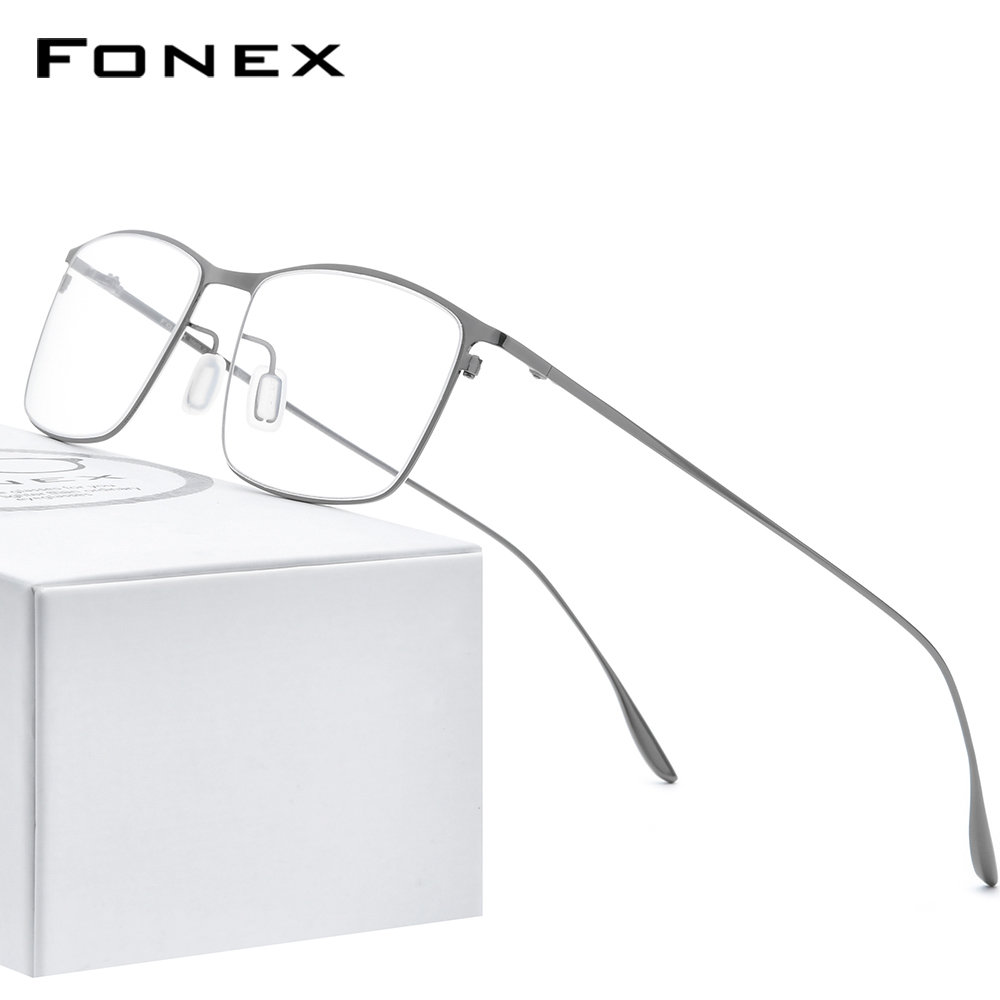 FONEX Titanium Alloy Glasses Frame Men Square Myopia Prescription Eyeglasses Frames 2020 New Full Optical Korean Eyewear 8105