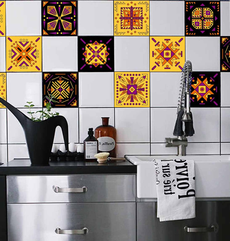 - Boho Waterproof Vinyl Wall Tiles Sticker For Home Decor Self