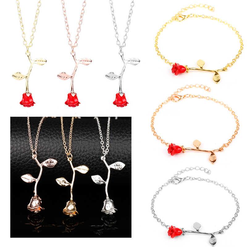 23 modele akcesoria mody uroczy choker złota róża oświadczenie naszyjnik kobiety jest piękna i bestia biżuteria prezenty dla zakochanych