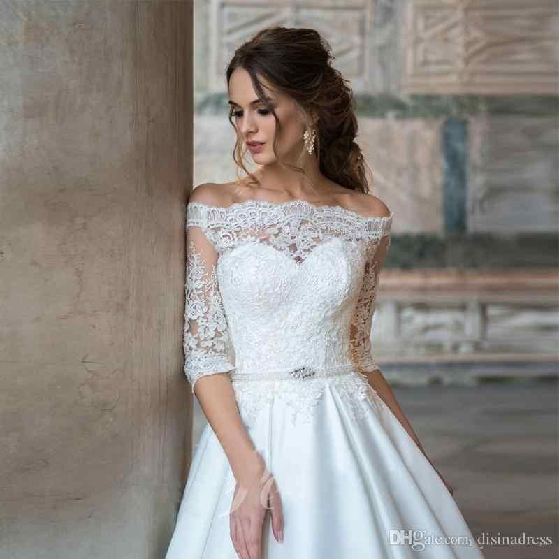 LORIE prenses gelinlik kapalı omuz yarım kollu dantel gelin elbiseler dantel Up geri düğün balo Vestido de novia