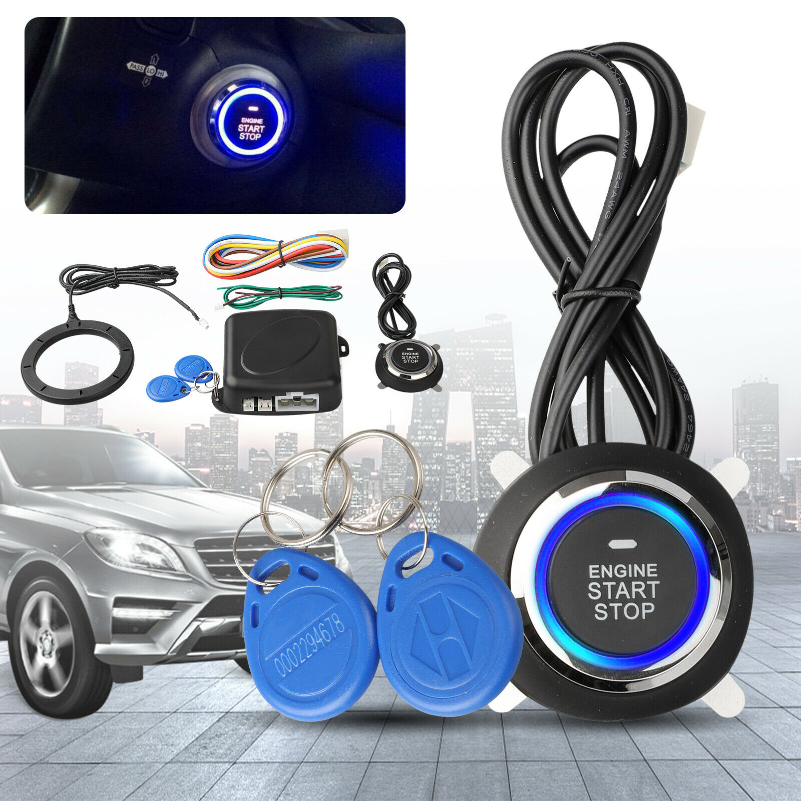 Auto Ignition Switch 12V RFID Push Start Button Car Entry Engine Start Keyless Start Stop Button Keyless Entry Starter Kit title=