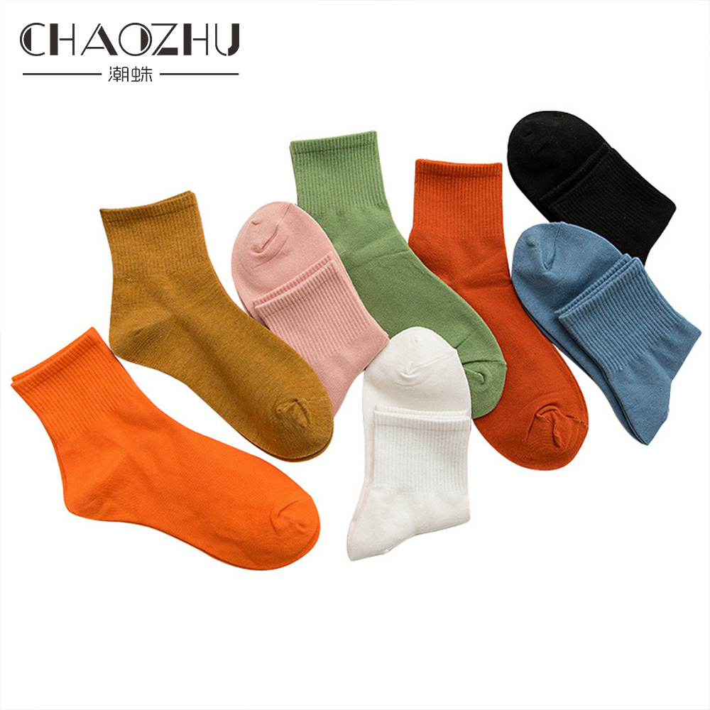 CHAOZHU New Women Solid Colors Trendy Candy Bright Lady Street Fashion Snap Socks Girls Casual 200 Needles Cotton Knitting