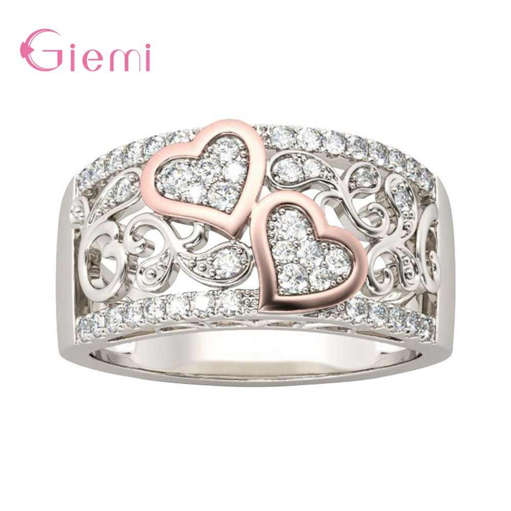 S925 Sterling Silver Luxury Elegant Top Quality Crystal Hollow Love Heart Classic Rings For Women Wife Anniversary Jewelry Gifts