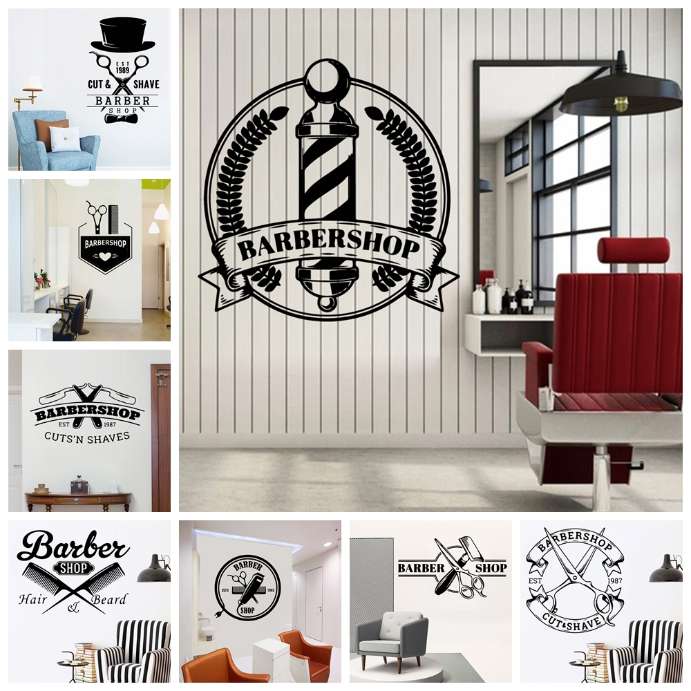 Cartoon barber shop Decal Removable Vinyl Mural Poster For Kids Rooms Decoration