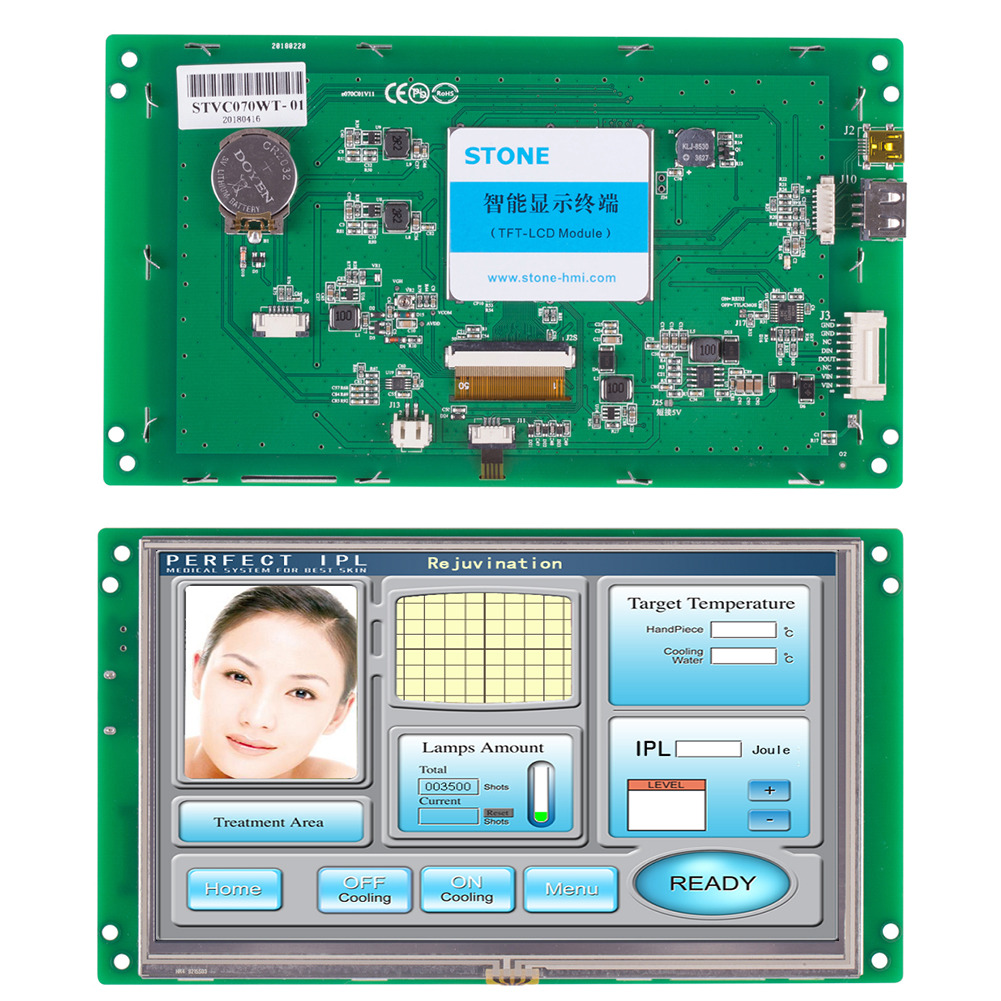 STONE 7 Inch HMI  Resistive Touch LCD Display Module 800*480 With Touch Screen + Embedded System For Industrial Use