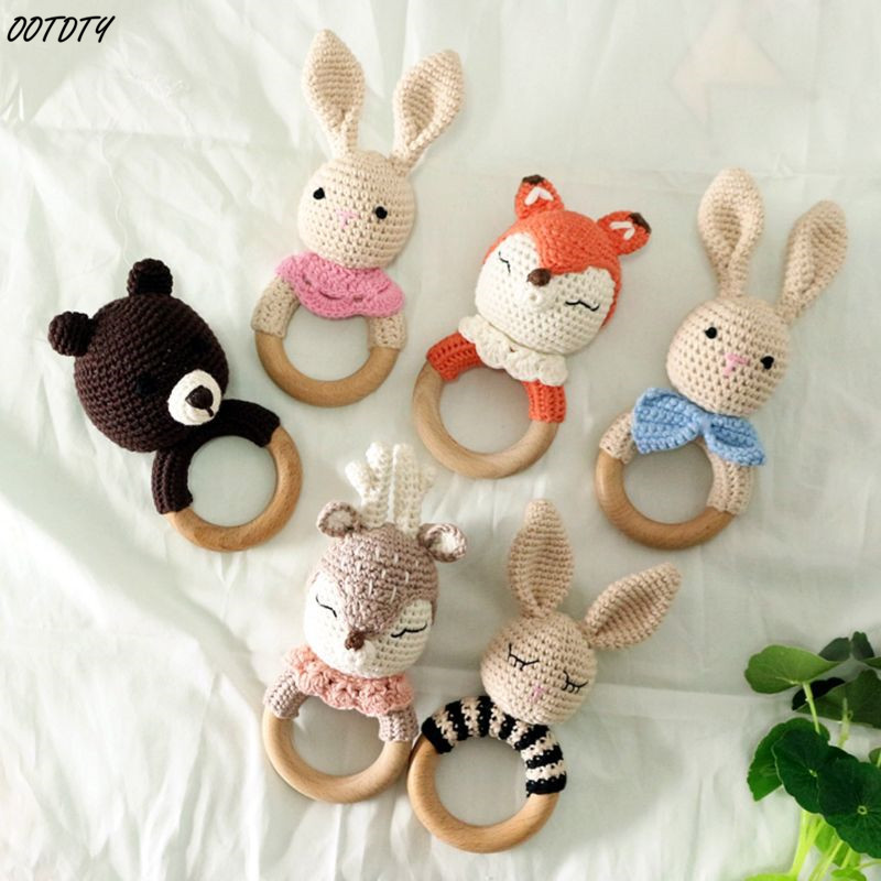 BPA Free Crochet Wooden Ring Baby Teether Sate Cute Animal Rattle Chewing Teething Nursing Soother Molar Infant Toy Accessories