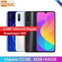 """Original xiaomi cc9e 4 gb 64 gb snapdragon 665 amoled celular cc 9e 6.088 """"octa núcleo 48mp ai câmera 4030 mah 4g celular"""