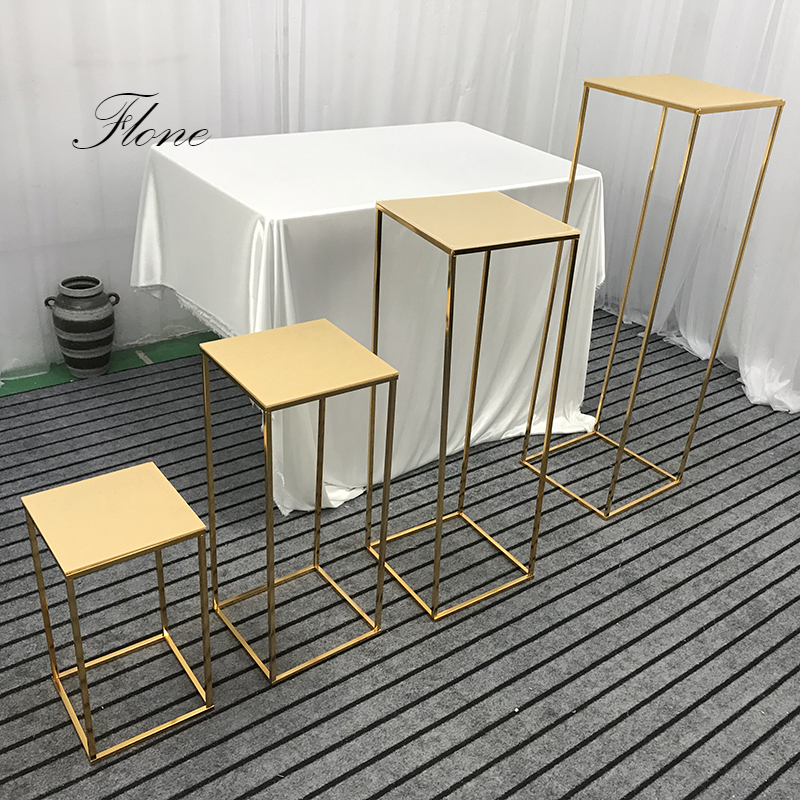Flone Wedding Centerpiece Gold-Plated Geometric Flower Stand Home Decoration Shiny Metal Iron Rectangle Square Frame Backdrop