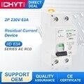 Миниатюрное электрическое устройство остаточного тока AC 2P 63a 30 мА RCD 230 В, электромагнитный предохранительный переключатель