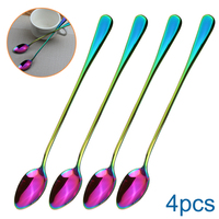 4pcs Spoon Stainless Steel Long Handle Scoop Cutlery Tableware Stirring|Coffee Scoops| |  -