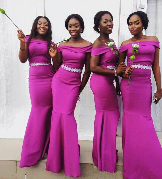 Fuchsia 2019 Cheap Bridesmaid Dresses Under 50 Mermaid Off The Shoulder Long Wedding Party Dresses For Women