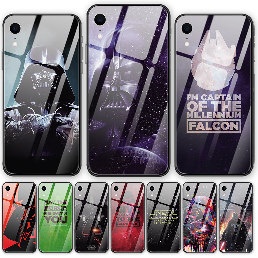 Anime Tempered glass back cover phone <font><b>case</b></font> <font><b>Star</b></font> <font><b>Wars</b></font> For <font><b>iphone</b></font> XR X XS MAX 5 5S 6 6S <font><b>7</b></font> 8 Plus 11 11ProMax Coque Funda image