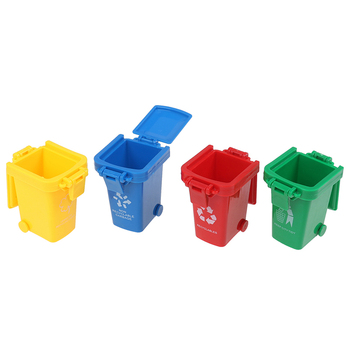 New arrival  4pcs/set Mini Trash Can Toy Garbage Truck Cans Curbside Vehicle Bin Toys Kid Simulation Furniture Toy Gift недорого