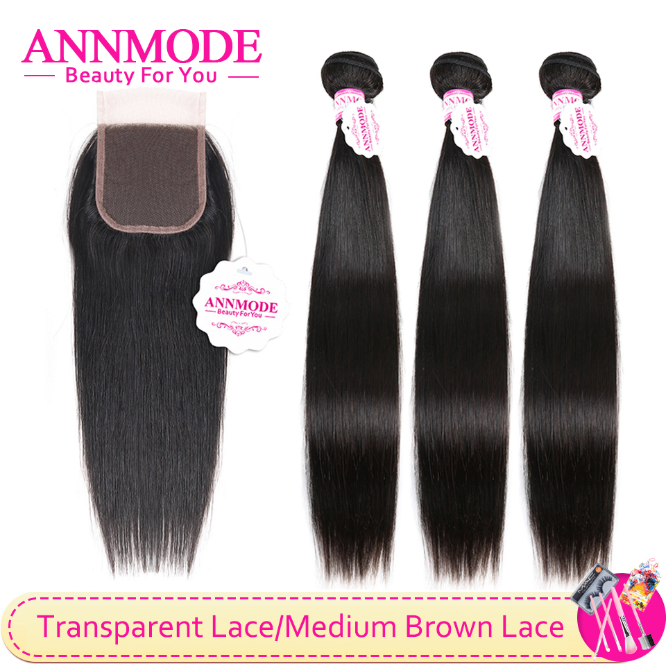 Malaysian Non Remy Straight Hair 3/4 Bundles With Closure 4x4 Transparent Lace Closure 100% Human Hair Annmode Hair