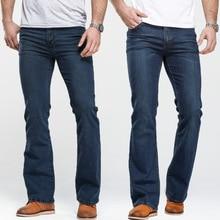 Джинсы мужские облегающие, слегка расклешенные, от известного бренда, классические Стрейчевые из денима, синие Черные