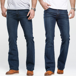 Image 1 - Mens Boot Cut Jeans Slightly Flared Slim Fit Famous Brand Blue Black jeans Designer Classic Male Stretch Denim jeans